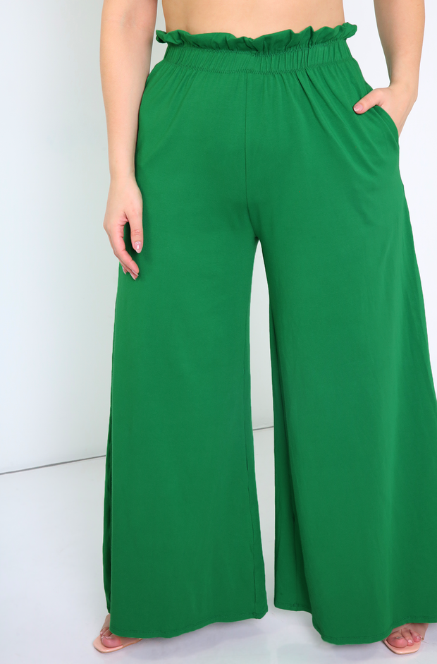 Green Paper Bag Wide Leg Pants Plus Size