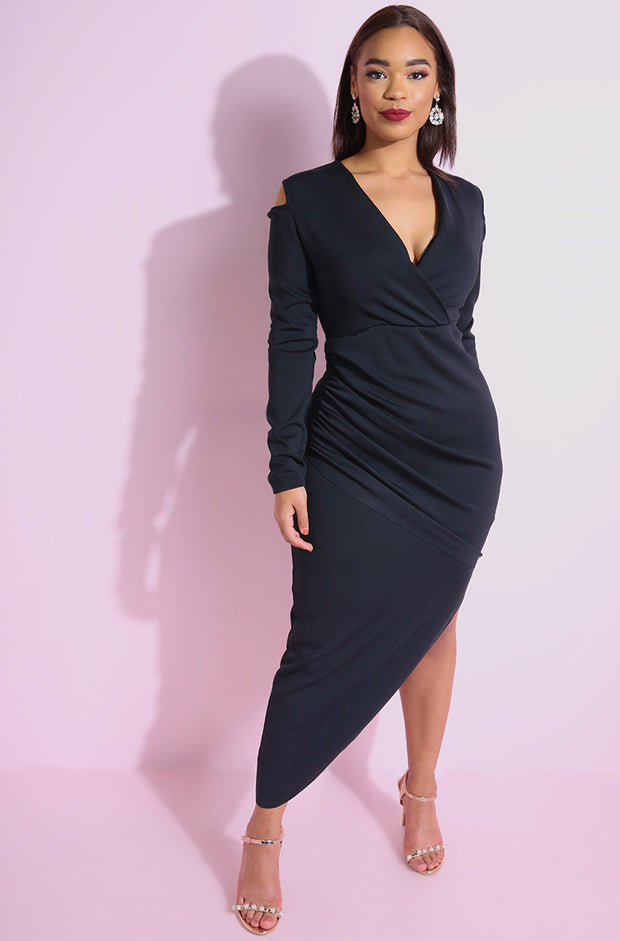 Black Cold Shoulder Asymmetrical Maxi Dress plus sizes