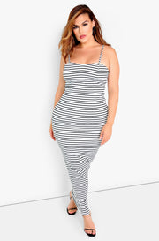 White Stripe Bodycon Mini Dress Plus Sizes
