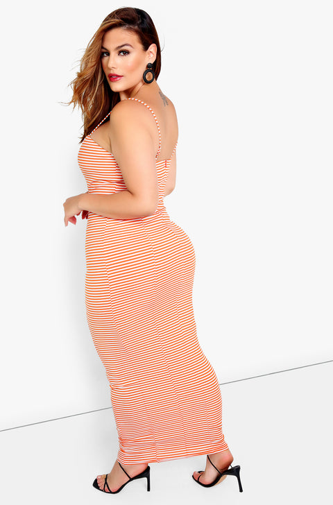 Orange Stripe Bodycon Mini Dress Plus Sizes