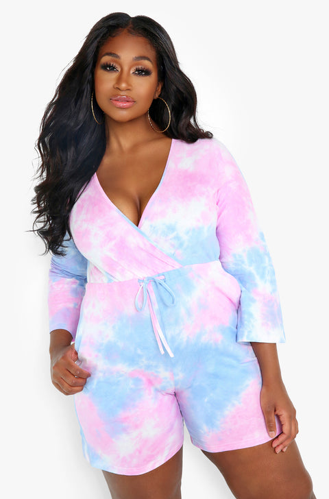 Light Blue Tie Dye Jumper Plus Sizes