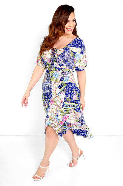 Blue Peasant Top Side Slit A-Line Midi Dress Plus Sizes