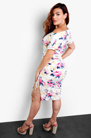 White Floral Bodycon Dress with Ruched Sides Plus Sizes