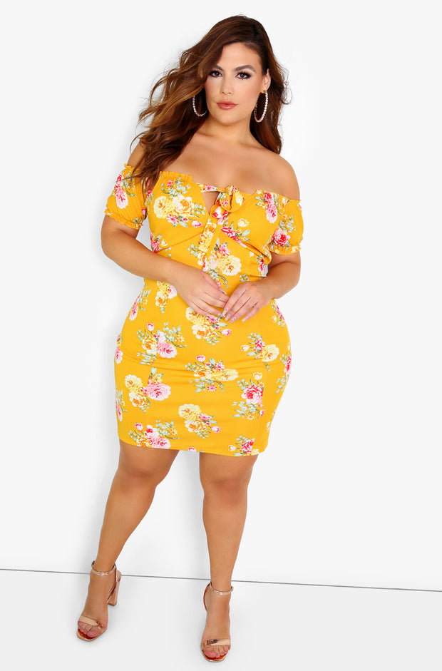 Mustard Peasant Style Bodycon Mini Dress Plus SIze