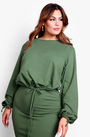 Olive Sweatshirt & Bodycon Midi Skirt Set