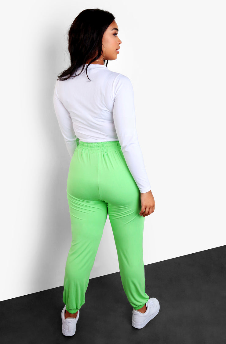 Lime Green High Waist Joggers Plus Sizes