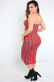red plaid bodycon midi skirts with cargo pockets plus sizes