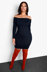 Black Over The Shoulder Lettuce Hem Mini Dress Plus Sizes