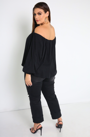 Black Oversized Top Plus Sizes