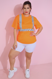 Neon Orange Reflective Shirt Plus Sizes