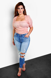 Light Pink Peasant Top Plus Sizes