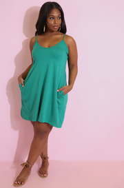 Green A-Line Mini Dress With Pockets Plus Sizes