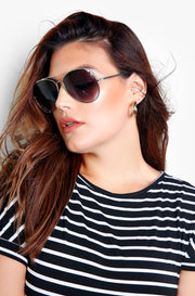 Silver Classic Aviator Tinted Sunglasses