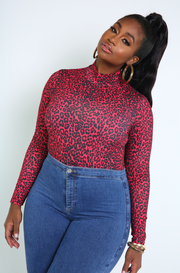 Red Leopard Print Bodysuit Plus Sizes