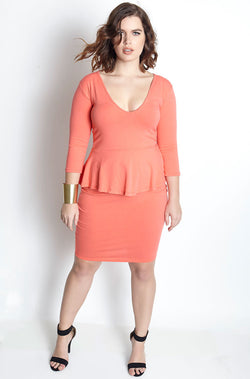 Coral Bodycon Peplum Mini Dress plus sizes