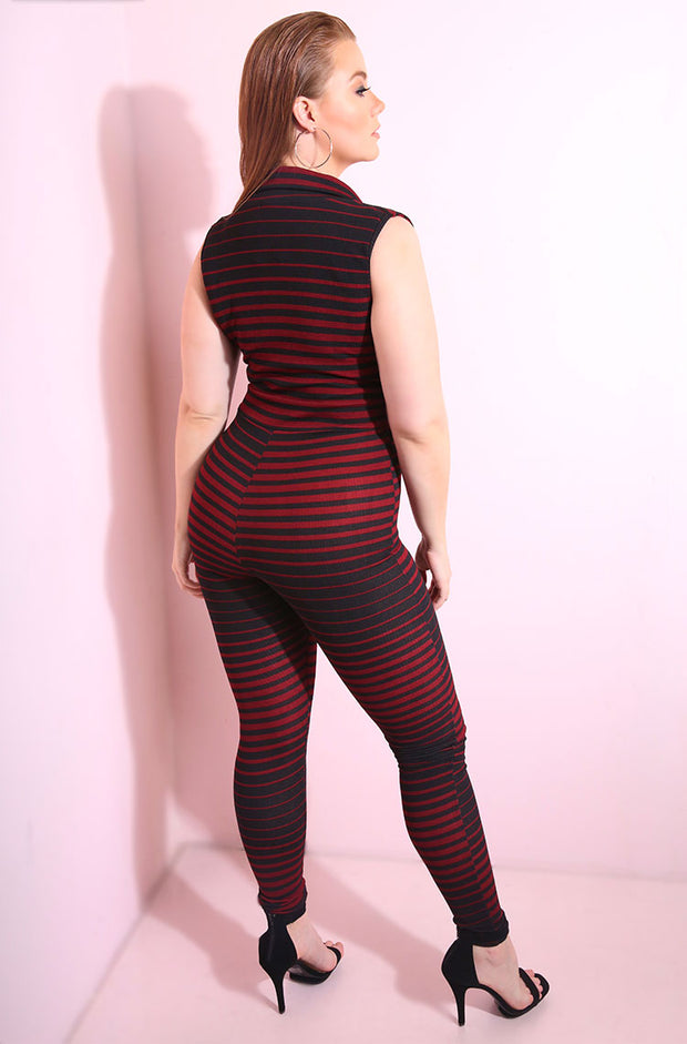 Ponte red and black stripe collared jumpsuit plus sizes plus sizes