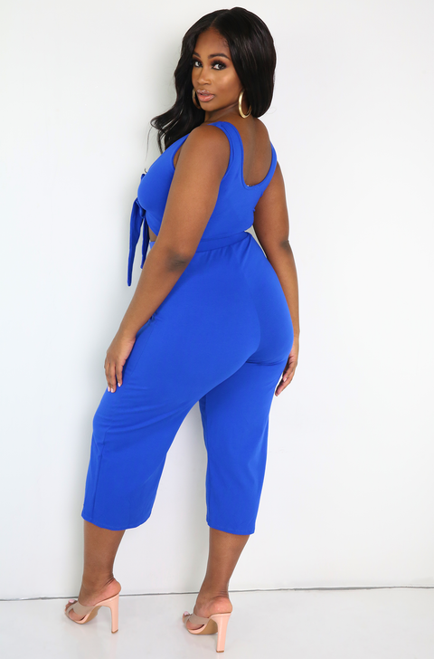 Royal Blue Front Tied Culotte Jumpsuit Plus Sizes