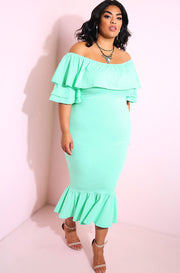 Mint Ruffled Mermaid Hem Bodycon Maxi Dress plus sizes