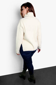 Ivory Oversized Turtleneck Knitted Sweater Plus Sizes