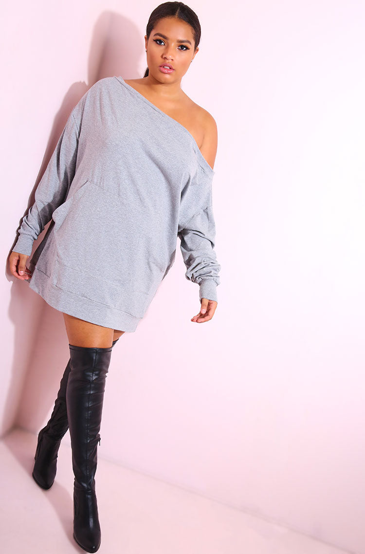 Gray Over The Shoulder Sweatshirt Mini Dress plus sizes