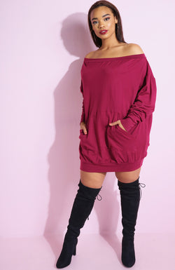 Burgundy Over The Shoulder Sweatshirt Mini Dress plus sizes