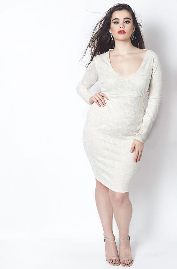 Cream Deep V Lace Knee Length Bodycon Dress plus sizes