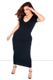 Black Essential V-Neck Bodycon Maxi Dress