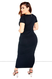Essential V-Neck Bodycon Maxi Dress