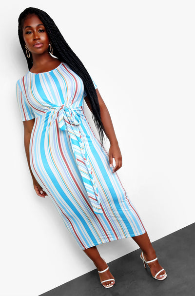 Light Blue Wrap Front Midi Dress Plus Sizes