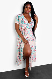 "Rebdolls ""Problem Solver"" Floral A-Line Wrap Maxi Dress"