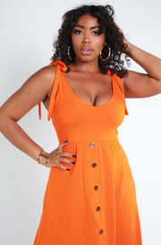 Orange A-line Midi Dress Plus Sizes