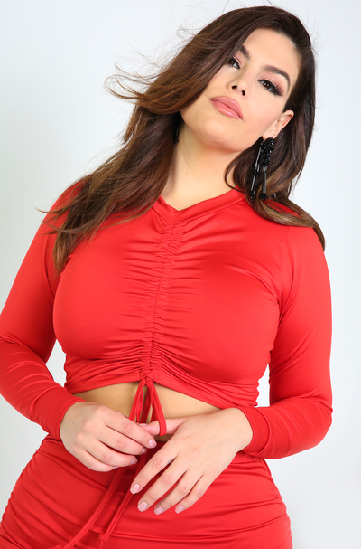 Red Adjustable Ruched Top Plus Sizes