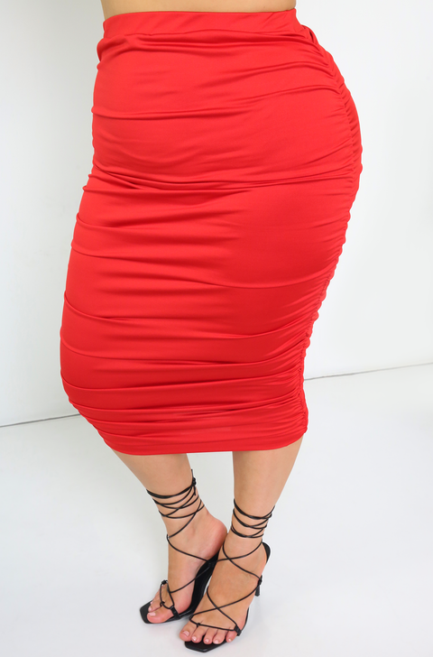 Red Ruched Midi Skirt Plus Sizes