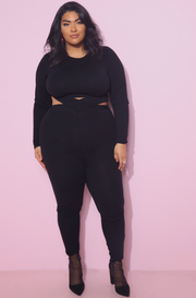 black wait cut out high waist leggings plus sizes