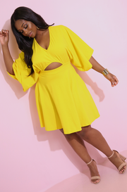Yellow Skater Mini Dress Plus Sizes