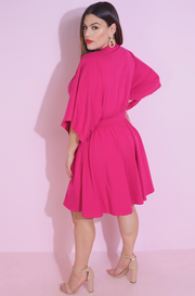 Fuchsia Skater Mini Dress Plus Sizes