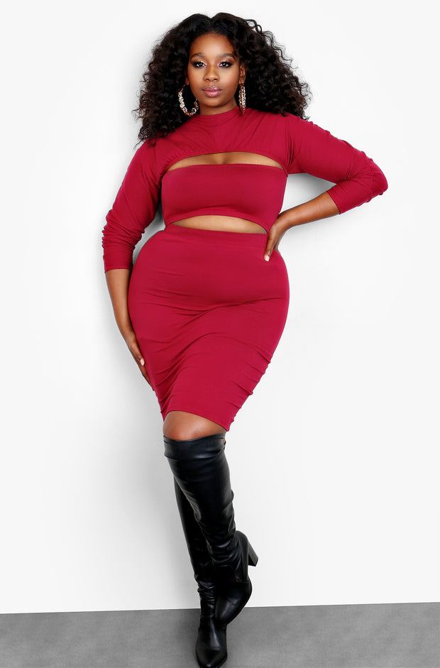 Burgundy Long Sleeve Cut Out Crop Top & Bodycon Mini Skirt Set