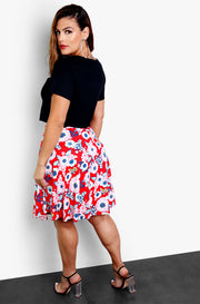 Red Floral Pleated Skater Midi Skirt Plus Sizes