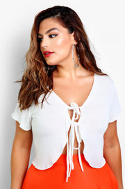 White Tie Front Cut Out Crop Top Plus Sizes