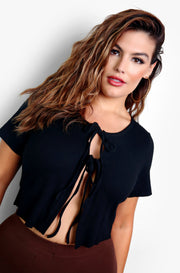 Black Tie Front Cut Out Crop Top Plus Sizes