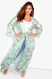 Mint Floral Maxi Kimono Plus Sizes
