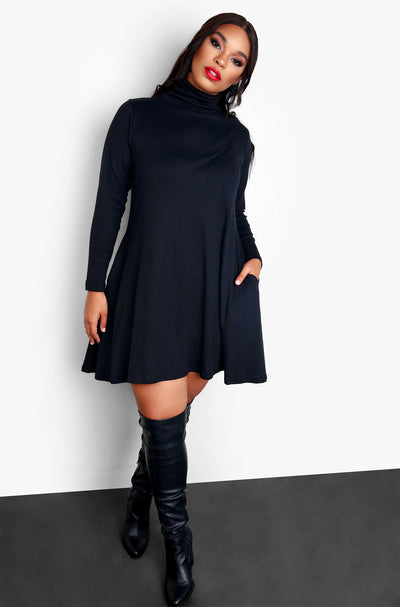 Black Turtleneck Long sleeve Skater Mini Dress Plus Sizes