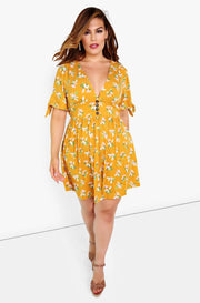 Mustard Plunge Skater Mini Dress Plus Sizes