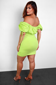 Lime Green Peasant A-Line Mini Dress Plus Sizes