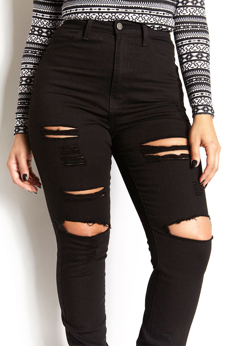 Black Ripped High Waist Skinny Jeans plus sizes