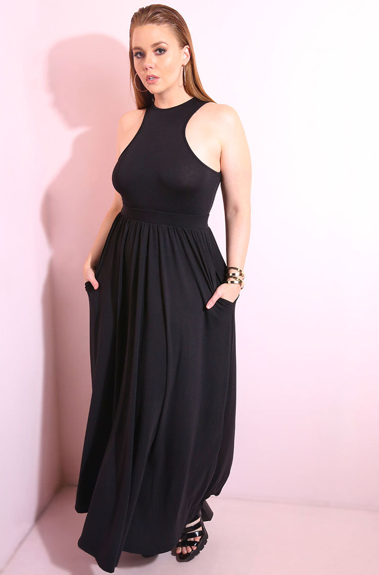 Black Skater Maxi Dress With Pockets plus sizes