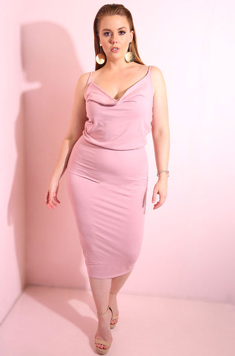 Pink Cowl Neck Bodycon Midi Dress plus sizes