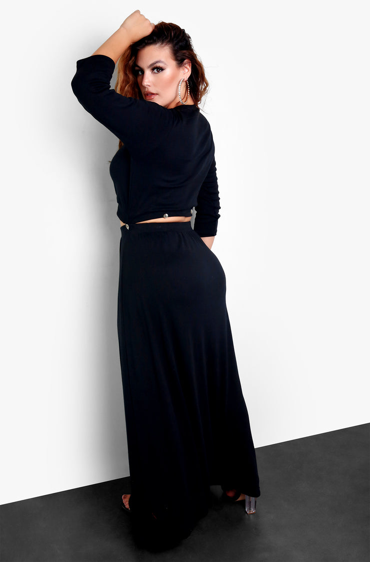 "Rebdolls ""Date Night"" Button Detailed Cut Out Maxi Dress"