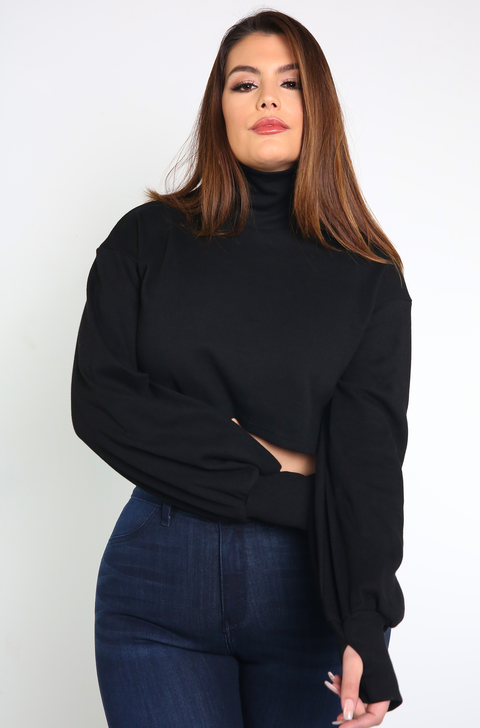 Black Oversized Turtleneck Thumbhole Cropped Sweater Plus Sizes