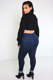 Blue Jean Ripped Skinny Jeans Plus Sizes